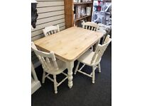 Distressed Farm House Style Table and Four Chairs