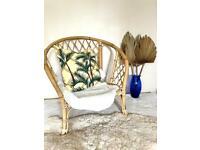 Boho vintage bamboo cane chair circa 1960s