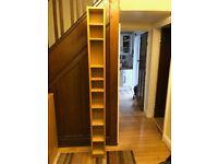 Two Ikea narrow shelf units. Oak colour. 200mm wide x 175 mm deep x 2020mm high £10 each
