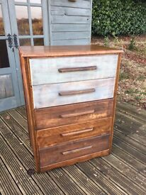 Antique Danish Mid Century Solid Wood Chest Of Drawers