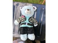 Build a bear blue bear plush toy and outfit
