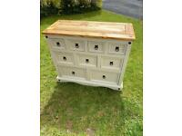 Shabby chic Mexican pine chest of drawer sideboard