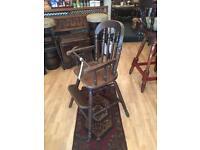 Vintage Childs dark wood high chair