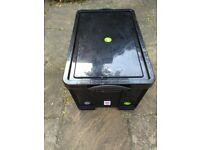 STORAGE BOX REALLY USEFUL BRAND BLACK 84 LITRE STRONG PLASTIC, GOOD QUALITY