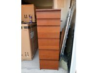 Ikea MALM tall 6 drawer Chest Brown