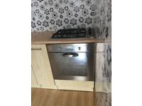 Cooker hob and oven and hood.