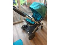 Babystyle oyster pushchair, pram, buggy, stroller. Buggy board, raincover and carseat head hugger