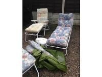 Set of 3 Sun Loungers and parasol