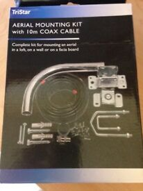 Aerial Mounting Kit with 10m coax cable new in box