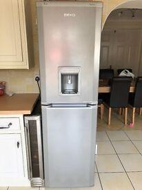 Beko fridge freezer in silver with water dispenser