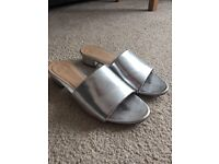 Dorothy Perkins silver mules size 5