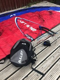 Flexifoil Bullet 4.5m Power / Traction Kite with lines, handles and bag