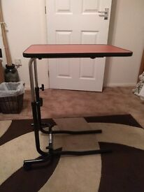 Over Bed Table Solid Wood/Metal Base