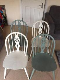4 x Ercol solid wood chairs 1960, 2 in Duck Egg Blue chalk paint and 2 in old white.
