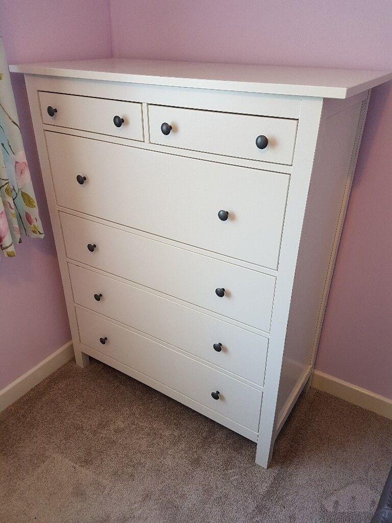 Ikea Hemnes 6 Drawer Chest Of Drawers White For Bedroom 108 X 50 131 Cm