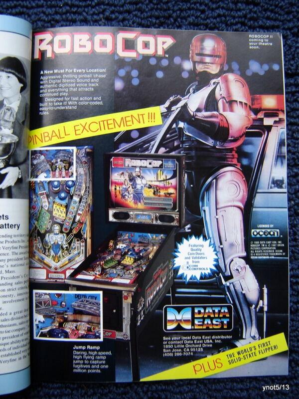 1990 PLAY METER mag. arcade/pinball~Robocop/Elvira/Beast Busters/Mousin