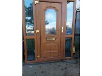 Brown PVC Oak Door with two Side Panels for Sale
