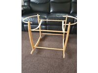 Rocking Wooden Mosses Basket Stand