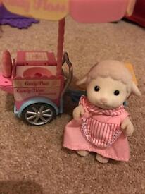 Sylvanian family - candy floss cart and lamb