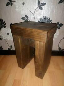 Chunky Dark Rustic End Lamp Table