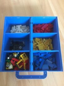 Lego Basic 545 from 1989 - storage box, base boards and assorted Lego pieces