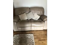 4 leather recliner two seats sofa plus 2 leather recliner chairs