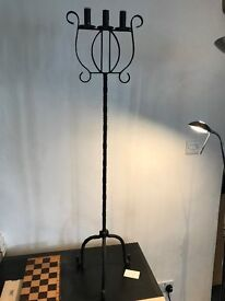 wrought iron triple candle stand