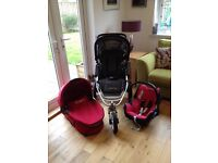 Quinny Speedi 3 Wheeler Multi Terrain Travel System in red/black suitable from birth
