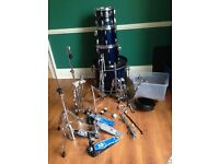 Tama Swingstar drum kit, including big dog pedals, 3 x Stagg cymbals