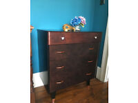 Mid-century Chest Of Drawers Black Copper Vintage Retro up-cycled