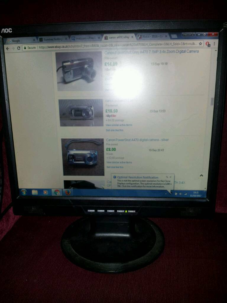 "Aoc 17"" lcd pc monitor in working order"