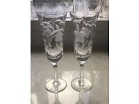 Two Cut Glass Champagne Flutes