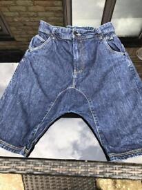 NEXT Boys Drop Crotch Denim Shorts Age 13 Years