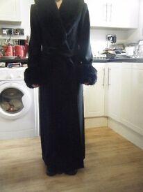 Elegant long Black Coat,Black furry collar and cuffs