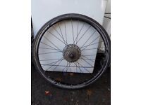 Bike back wheel and tyre, 8 cogs. 26 x 1.50 tyre