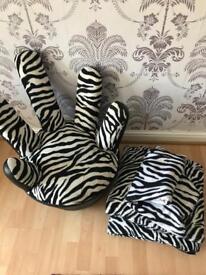 Zebra Print Chair, throw & 2 cushions