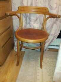 Vintage Fischel Bentwood Carver Chair With Arms 1930's