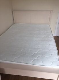 Cream wood double bed with mattress