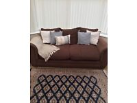Brown two seater sofa, sofa, living room sofa, furniture
