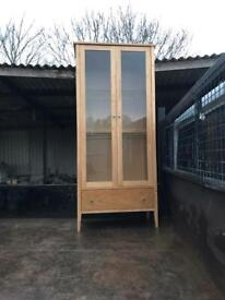 Glass display cabinet and draw