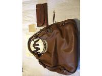 Genuine Michael Kors Tan Leather Large Bedford Handbag And Matching Naomi Wallet