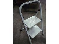 2 Step Fold Away Step Ladder Metal Storage Stool Caravan Motorhome diy home improvement painting