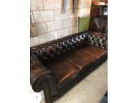 Stunning heavy chesterfield sofa in brown leather