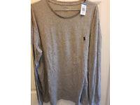 100% AUTHENTIC & BRAND NEW XL Grey Polo Ralph Lauren Men's Long Sleeve T-Shirt