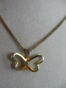 BEAUTIFUL OLD VINTAGE 17-inch GOLDTONE BUTTERFLY PENDANT NECKLACE