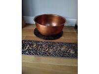 50cm diameter round hammered copper planter with base - NEW!