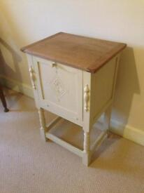 Oak Cabinet with decorative detailing, drop front and lift lid.