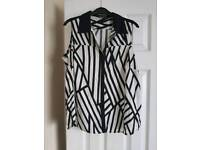 Black and white blouse size 14