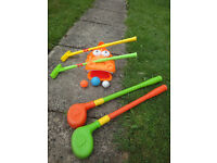 Gator golf set includes 2 clubs, gator mouth & balls, plus 2 ELC clubs. Good condition