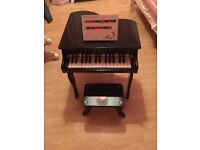 Kids wooden mini piano with stool